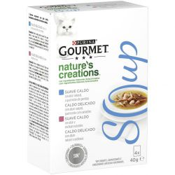 Ver PURINA®  GOURMET® Nature's Creations  Soup con atún natural y guarnición de gambas y con atún y anchoas naturales 4x40g